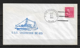 US NAVY 1947 Rare Cachet Naval Cover Warships, USS Greenwood Ship Cancellation !! VF (RN-6) - Ships