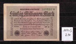 55d * REICHSBANKNOTE 108LI * 105844 VOM 1.9.1923  * 50 MILLIONEN MARK * FAST UNGEBRAUCHT ** !! - [ 3] 1918-1933 : Repubblica  Di Weimar