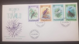 O) 1978 TUVALU, WILD BIRDS- PACIFIC PIGEON-REEF HERON-FAIRY TESN-LESSER FRIGATE, FDC XF - Tuvalu