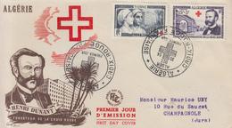 Enveloppe  FDC  1er  Jour  ALGERIE   DUNANT  Paire   CROIX  ROUGE   1954 - Algérie (1924-1962)