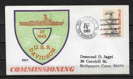 US NAVY 1965 Cachet NAVAL Cover Warships, Destroyer USS DAVIDSON, Ship Cancel VF ! (RN-6) - Ships