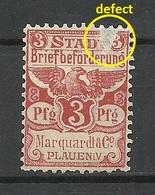 Germany Ca 1885 PLAUEN Lokaler Stadtpost Local City Post Marquardt & Co. (*) - Private