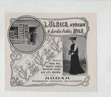 Publicité Art Nouveau Ulrich Opticien Menton Kodak Photographie - Publicités