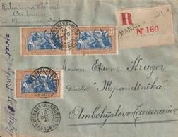 MADAGASCAR LETTRE RECOMMANDEE MANANARA-NORD Pour TANANARIVE 1941 Bel Affranchissement Recto-verso - Madagascar (1889-1960)