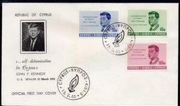 CYPRUS, 1965 PRESIDENT KENNEDY FDC - Chypre (République)