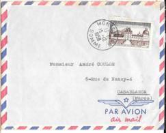 SUR  LETTRE.. N° 1128.. DE MONTDIDIER POUR L'AFN..CASABLANCA..  PAR AVION ..1958..TBE...SCAN - Marcophilie (Lettres)