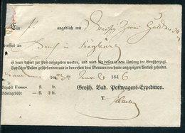 """Baden / 1846 / Postschein """"Grossh. Bad. Postwagens-Expedition"""", Hs. Ortsvermerk (7342) - Allemagne"""