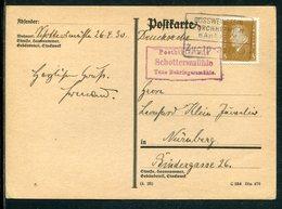 Deutsches Reich / 1930 / Posthilfsstellen-Stempel SCHOTTERMUEHLE U.Bahnpost-Stempel Grossweinstein-Forchheim A.PK (7343) - Briefe U. Dokumente