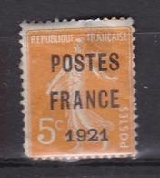 FRANCE PREOBLITERES POSTES FRANCE 1921 N° 33 5C. ORANGE NEUF * Cote 250 Euros - Préoblitérés