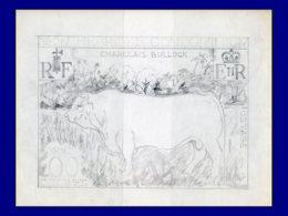 NOUVELLES-HEBRIDES Poste MAQ - 409, 3 Maquettes Originales Sur Claque Au Crayon De Pheulpin, (215x160): 10f. Taureau Cha - Nouvelles-Hébrides