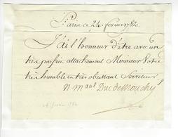 Philippe De Noailles Duc De Mouchy Marechal (1715-1794) 1782 AUTOGRAPHE ORIGINAL AUTOGRAPH /FREE SHIP. R - Autógrafos
