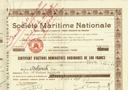 75-MARITIME NATIONALE. Rue Godot De Mauroy Paris Certif Actions Nom Ordinaires - Other