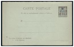 Entier Sur Cp Avec Réponse Payée Surchargée 1 Ana - France (former Colonies & Protectorates)