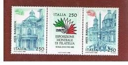 ITALIA - UN.1719.1721   - 1985  ESPOSIZ. FILATELICA ITALIA '85 (SERIE COMPLETA DI 3 SE-TENANT)    -  NUOVI **(MINT) - 6. 1946-.. Repubblica