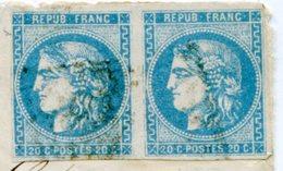 Devant De Lettre Avec N°46 Report 1 En Paire + Ambulant BREST A PARIS Du 18/04/1871 - Marcophilie (Lettres)
