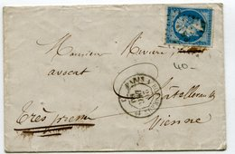 Env. Avec N°14 Oblitéré PB1° + Dateur Ambulant PARIS A BORDEAUX 1° Du 26/12/1860 - Marcophilie (Lettres)