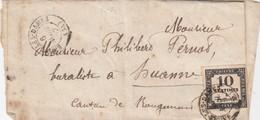 TAXE N° 2. 4 BELLES MARGES. . 1852. LAS. DOUBS.  BAUME-LES-DAMES - Marcophilie (Lettres)