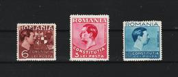 1938 - King Carol /  Constitution  Mi No 549/551  MNH - 1918-1948 Ferdinand, Carol II. & Mihai I.