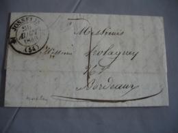 1844 Josselin Cachet Type 12 Lettre Taxee  7 Pour  Bordeaux - Postmark Collection (Covers)