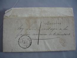 1849  Cachet Type 15  ,  C L , Cachet Rouge Lettre Taxee Manuelle Administrative - Marcophilie (Lettres)