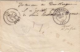 LETTRE RECOMMANDÉ. N° 60 BANDE DE 3. 31 AOUT 1875. ARRAS POUR ARRAS ET RETOUR A L'ENVOYEUR - Marcophilie (Lettres)