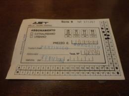 TESSERA ABBONAMENTO AST -  TRATTA PARTINICO - BORGETTO-1992 - Abonnements Hebdomadaires & Mensuels