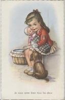 CPA - ILLUSTRATION Signée - Scène ENFANTINE - Jeune Fille Avec Jouet Et Chien - Edition M.D. - Dessins D'enfants