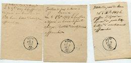 ISERE De MENS 3 Recepissé De Dépôt De Lettres De 1869 Avec Dateur T16 - Marcophilie (Lettres)