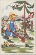 CPA - ILLUSTRATION Signée Miro BRET - Scène ENFANTINE - Jardinier Brouette - Edition Photochrom - Dessins D'enfants