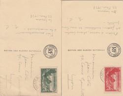 PAIRE DE VICTOIRE DE SAMOTHRACE N° 354,355 SUR CP DU LOUVRE - Marcophilie (Lettres)