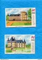 """2-BUVARDS--""""BISCOTTES GREGOIRE"""" -   Illustré -Les Chateaux De Françe-Rambouillet-Azay Le Rideau-années 40 - Biscottes"""