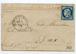 BASSES PYRENEES De OLORON STE MARIE Env. Du 07/03/1876 Avec N°60 Oblitéré GC 2723 - Marcophilie (Lettres)