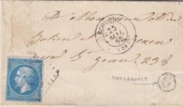 LETTRE.1865. ORNE ECOUCHE. GC 1377. BOITE RURALE G = MONTGAROULT POUR ECOUCHE - Marcophilie (Lettres)
