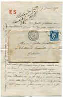 PARIS LAC Du 9/01/1874 Avec N°60 Oblitéré Etoile 11 PL DU THEATRE FRANCAIS - Marcophilie (Lettres)