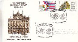 Espagne - Lettre De 1986 - Oblit Madrid - Idées Européennes - Drapeaux - - 1981-90 Cartas