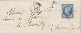 LETTRE.1861. ORNE ATHIS-DE-L'ORNE. PC 153. BOITE RURALE C = SEGRIE-FONTAINE (REPETÉE AU VERSO. RARE) POUR LA ROCHELLE - Marcophilie (Lettres)