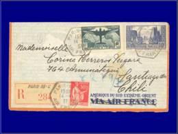 FRANCE Poste  - 321 + Divers, Sur Enveloppe Pour Le Chili: 10f. Atlantique - Cote: 160 - Postmark Collection (Covers)