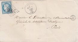 LAS. 1871. NIEVRE. LORMES. GC 2086. BOITE RURALE H POUR PARIS - Marcophilie (Lettres)
