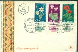 FLEURS Israel N° 152 / 154 Avec TABS  Fdc 1959 .TB . - Végétaux