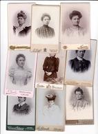 Femmes Mode Vers 1890 Réunion De 9 Photos Anvers Liège Bruxelles Verviers Seraing & Hodimont - Personnes Anonymes
