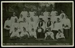 Ref 1274 - 1907 Photo Postcard - Clergy & Choir St Mary's Church Acocks Green Birmingham - Other