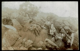 """Ref 1274 - Early Real Photo Ethnic Postcard - Zulu Warriors """"The Attack"""" Spears & Shields - Africa"""