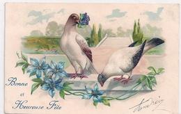 Cpa Fantaisie Gaufrée  Bonneet Heureuse Fête ( 2 Pigeons ) - Otros