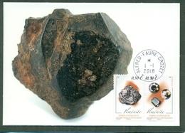 CM-Carte Maximum Card # TAAF 2018 # Minéraux-Mineralien-minerals # Ilménite,Ilmenit , PJ Alfred Faure 1.1.2018 (1 CM) - Minéraux