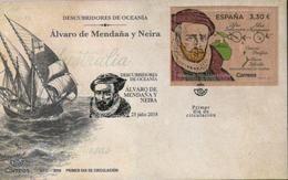 Spanien 'Alvaro De Mendaña Y Neira,  Entd. Ozeanien, Holzfolie' / Spain 'Discoverer Of Oceania, Wooden Foil' FDC 2018 - Explorers