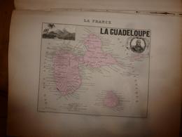 1880 :GUADELOUPE (Basse-Terre,Pointe-a-Pitre,Marie-Galante,Alpines,etc)Carte Géo.-Descriptive En Taille Douce Par Migeon - Cartes Géographiques