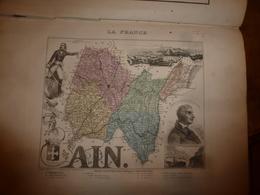 1880 : AIN (Bourg, Belley, Gex , Nantua, Trévoux, Etc) Carte Géographique-Descriptive:grav.taille Douce-Migeon,géographe - Geographische Kaarten
