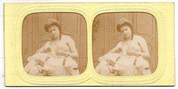 Lot De 2 Photos Stéréoscopiques - Jeune Femme Seins Nus , Forte Poitrine - Stéréo , érotisme - Photos Stéréoscopiques