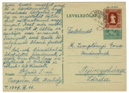 Ref 1275 - 1947 Up-Rated Postal Stationery Card Hungary - 58 Filler Rate To Larda - Postal Stationery