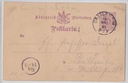CRAILSHEIM KÖNIGREICH WÜRTTEMBERG POSTKARTE 14.03.1884 CIRCLE POSTMARK MARQUE POSTALE CERCLE D4 14/3 STEMPEL - Wurtemberg